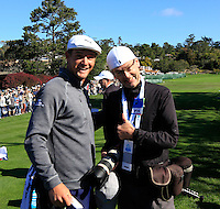 Arizona Cardinals wide receiver Larry Fitzgerald turns my camera on me and insists on taking my picture with Bryson DeChambeau (USA) on the 1st tee at Pebble Beach Golf Links during Saturday's Round 3 of the 2017 AT&amp;T Pebble Beach Pro-Am held over 3 courses, Pebble Beach, Spyglass Hill and Monterey Penninsula Country Club, Monterey, California, USA. 11th February 2017.<br /> Picture: Larry Fitzgerald | Golffile<br /> <br /> <br /> All photos usage must carry mandatory copyright credit (&copy; Golffile | Eoin Clarke)