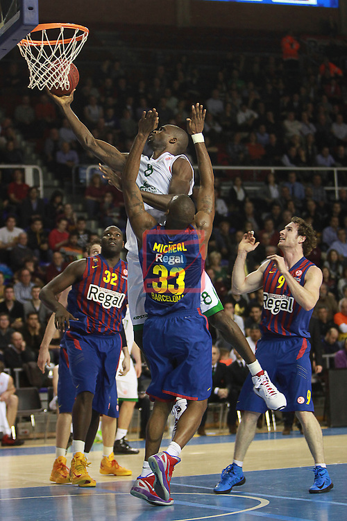 Euroleague Basketball 2012/13 Top 16 Round 6.<br /> FC Barcelona Regal vs Montepaschi Siena: 85-66.<br /> Jawai, Eze &amp; Mickeal.