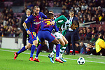 UEFA Champions League 2017/2018 - Matchday 6.<br /> FC Barcelona vs Sporting Clube de Portugal: 2-0.<br /> Aleix Vidal, Nelson Semedo &amp; Rodrigo Battaglia.