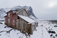 Abandoned house in winter, Moskenesøy, Lofoten Islands, Norway