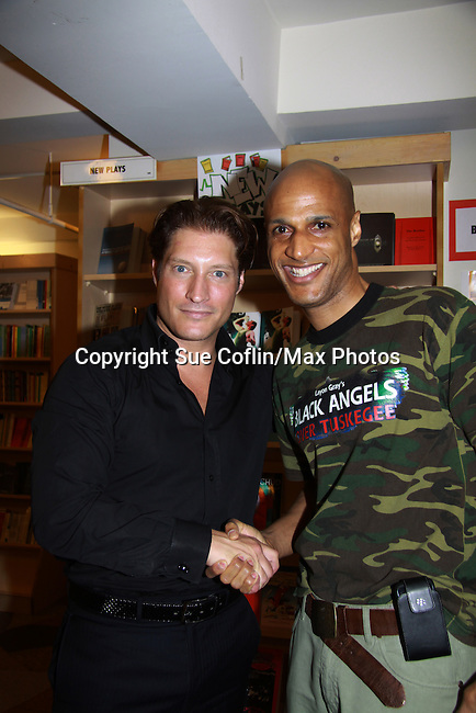 "Actor Thomas Scott II (Layon Gray's Black Angels Over Tuskegee) is introduced to The Young and The Restless Sean Kanan ""Deacon"" at book signing on September 15, 2011 for Sean's new book ""The Modern Gentleman - Cooking and Entertaining with Sean Kanan"" at the Drama Book Shop, New York City, New York. ""Don't just set the table, set the mood.""  In this book ""Sean Kanan, author, actor, producer and self-taught chef offers expert field-tested instruction on how any guy can become a refined, knowledgeable chef."" (Photo by Sue Coflin/Max Photos)"