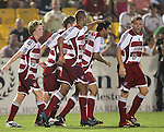 7 August 2007: FC Dallas teammates congratulate Arturo Alvarez (12, second from right) for scoring the game-winning goal in the 96th minute. FC Dallas of Major League Soccer defeated the Charleston Battery of the United Soccer League first division 2-1 after extra time in a quarterfinal match of the 2007 US Open Cup tournament at Blackbaud Stadium in Charleston, SC...