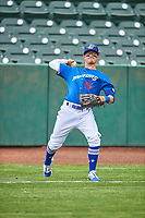 Josh McLain (15) of the Ogden Raptors before the game against the Grand Junction Rockies at Lindquist Field on June 17, 2019 in Ogden, Utah. The Rockies defeated the Raptors 9-0. (Stephen Smith/Four Seam Images)
