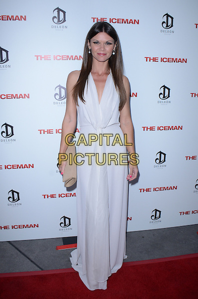 Danielle Vasinova.The premiere of 'The Iceman' at ArcLight Hollywood, Hollywood, California, USA..April 22nd 2013.full length white dress beige clutch bag.CAP/ADM/TW.©Tonya Wise/AdMedia/Capital Pictures.
