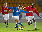 St Johnstone Academy v Manchester United Academy....17.04.15   <br /> Blaine Duncan and Venancio Da Silva Monteiro<br /> Picture by Graeme Hart.<br /> Copyright Perthshire Picture Agency<br /> Tel: 01738 623350  Mobile: 07990 594431
