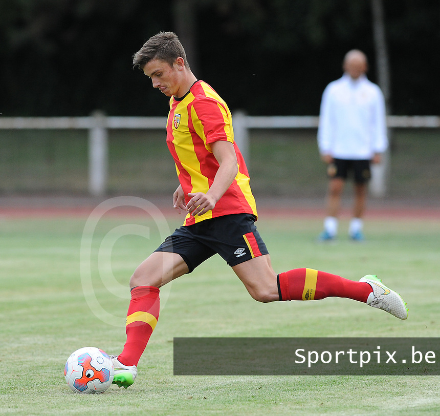 20150724 - DOUAI, FRANCE : RC Lens'  Hugo Robert   pictured during a friendly match between French second division team Racing Club de Lens and Belgian second division team Royal White Star Bruxelles, during the preparation for the 2015-2016 season, Friday 24th July 2015 in Douai. PHOTO DAVID CATRY