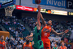 League ACB-ENDESA 2017/2018. Game: 30.<br /> Divina Seguros Joventut vs Valencia Baket Club: 77-75.<br /> Albert Ventura vs Erick Green.