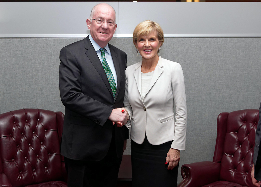Australian Minister for Foreign Affairs Julie Bishop in a bilateral Meeting with Bilateral Meeting with Mr Flanagan, Minister for Foreign Affairs and Trade of Ireland at UN Headquarters in New York,Thursday September 22, 2016. photo by Trevor Collens/DFAT