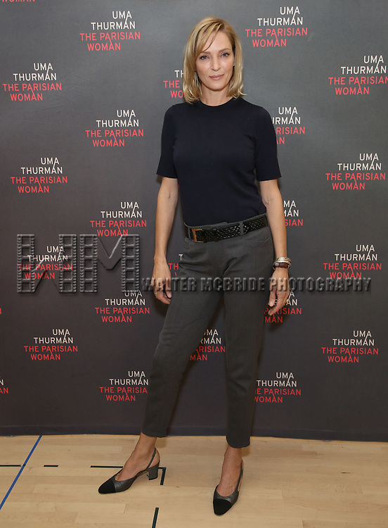Una Thurman attends the Meet & Greet Photo Call for the cast of Broadways 'The Parisian Woman' at the New 42nd Street Studios on October 18, 2017 in New York City.