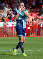 Garry Thompson of Wycombe Wanderers thanks the fans after the Sky Bet League 2 match between Crawley Town and Wycombe Wanderers at Broadfield Stadium, Crawley, England on 6 August 2016. Photo by Alan  Stanford / PRiME Media Images.