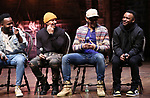 "Deon'te Goodman, Terrance Spencer, Anthony Lee Medina and Jimmie ""JJ"" Jeter during the eduHAM Q & A before The Rockefeller Foundation and The Gilder Lehrman Institute of American History sponsored High School student #EduHam matinee performance of ""Hamilton"" at the Richard Rodgers Theatre on November 13, 2019 in New York City."