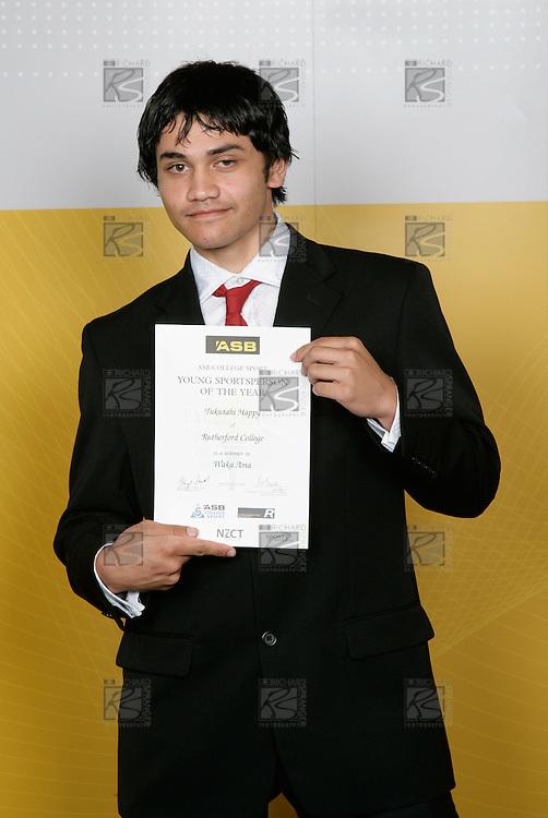 Waka Arna Boys Winner - Tukutahi Happy. ASB College Sport Young Sportsperson of the Year Awards 2006, held at Eden Park on Thursday 16th of November 2006.<br />