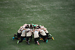 HOUSTON, TX - DECEMBER 11:  Wake Forest University huddles before the Division I Men's Soccer Championship held at the BBVA Compass Stadium on December 11, 2016 in Houston, Texas.  Stanford defeated Wake Forest 1-0 in a penalty shootout for the national title. (Photo by Justin Tafoya/NCAA Photos via Getty Images)