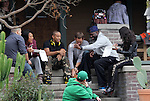 Decemeber 2nd 2012  <br /> <br /> Vin Diesel , Paul Walker , Jordana Brewster , Ludacris , Elsa Pataky ,  Michelle Rodriguez . Paul was holding a little brown puppy dog on set while eating lunch on the porch of a house with cast members in Los Angeles while filming Fast &amp; the Furious 6<br /> <br /> <br /> AbilityFilms@yahoo.com<br /> 805 427 3519 <br /> www.AbilityFilms.com