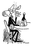 Alcohoffnung. (A man with a face like a high heeled shoe drinks champagne from a high heeled shoe)