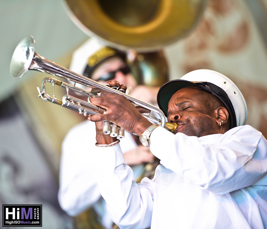 Treme Brass Band playing at the 2011 Voodoo Festival in New Orleans, LA.
