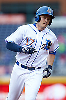 Jason Coats (17) of the Durham Bulls rounds the bases after hitting a home run against the Buffalo Bison at Durham Bulls Athletic Park on April 25, 2018 in Allentown, Pennsylvania.  The Bison defeated the Bulls 5-2.  (Brian Westerholt/Four Seam Images)
