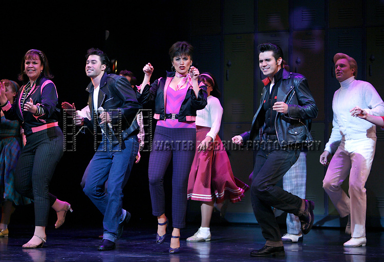Lindsay Memdez, Ace Young, Derek Keeling & Anna Aimee White during American Idol Heartthrob Ace Young makes his Broadway Debut in the Broadway Revival of GREASE at the Brooks Atkinson Theatre in New York City.<br />