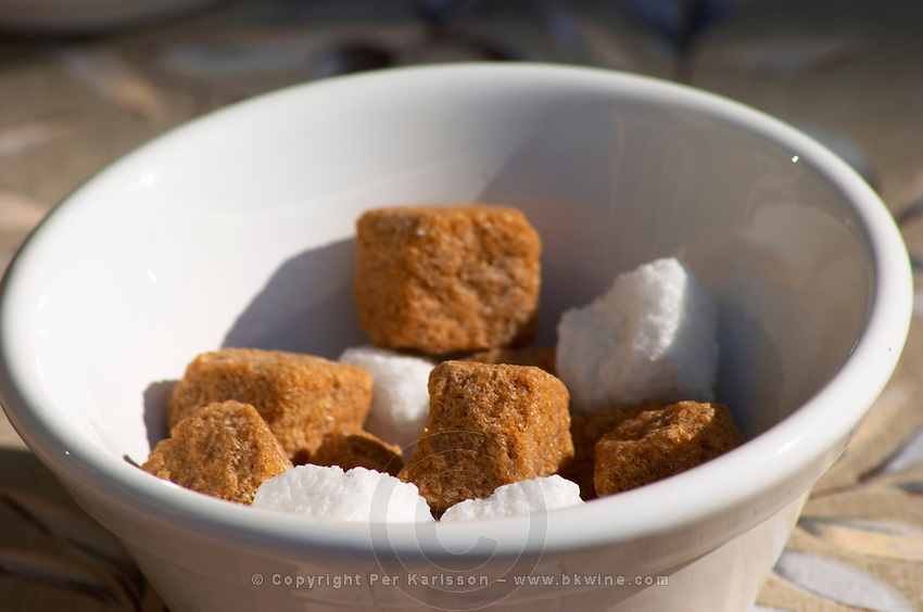A bowl of brown and white sugar. Clos des Iles Le Brusc Six Fours Cote d'Azur Var France