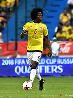 BARRANQUILLA – COLOMBIA - 23 – 03 -2017: Carlos Sanchez, jugador de Colombia en accion, durante partido entre los seleccionados de Colombia y Bolivia, de la fecha 13 válido por la clasificación a la Copa Mundo FIFA Rusia 2018, jugado en el estadio Metropolitano Roberto Melendez en Barranquilla. / Carlos Sanchez, player of Colombia in action, during match between the teams of Colombia and Bolivia, of the date 13 valid for the Qualifier to the FIFA World Cup Russia 2018, played at Metropolitan stadium Roberto Melendez in Barranquilla. Photo: VizzorImage / Luis Ramirez / Staff.