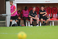 Jimmy Mcfarlane manager of Hornchurch and Colin Mcbride sit in the dugout during AFC Hornchurch vs Soham Town Rangers, Bostik League Division 1 North Football at Hornchurch Stadium on 12th August 2017