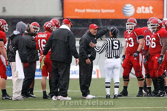 Utah head coach Kyle Whittingham. Salt Lake City - Utah vs. Utah State college football Saturday afternoon at Rice-Eccles Stadium..; 9.29.2007