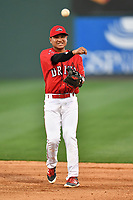 Infielder Carlos Tovar (11) of the Greenville Drive at the team's first workout of the season on Tuesday, April 4, 2017, at Fluor Field at the West End in Greenville, South Carolina. (Tom Priddy/Four Seam Images)
