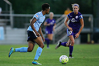 Piscataway, NJ - Wednesday Sept. 07, 2016: Maya Hayes, Dani Weatherholt during a regular season National Women's Soccer League (NWSL) match between Sky Blue FC and the Orlando Pride FC at Yurcak Field.