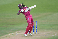 Chris Gayle (West Indies) takes evasive action from a short Boult delivery during West Indies vs New Zealand, ICC World Cup Warm-Up Match Cricket at the Bristol County Ground on 28th May 2019