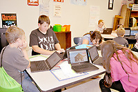 RACHEL DICKERSON/MCDONALD COUNTY PRESS Students in Jennifer Floyd's class at White Rock School practice coding during summer school. Summer school involves a variety of hands-on classes.