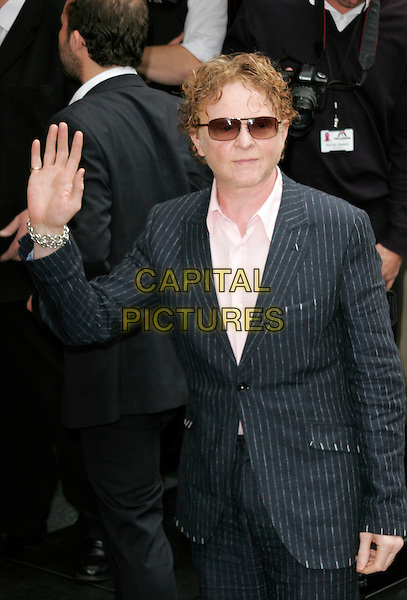 MICK HUCKNALL.The Ivor Novello Awards, Grosvenor House, Park Lane, London, England..May 22nd, 2008.half length sunglasses shades pinstripe suit jacket grey gray stubble facial hair hand palm waving .CAP/AH.©Adam Houghton/Capital Pictures.