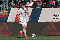 FOXBOROUGH, MA - MARCH 7: Robert Beric #27 of Chicago Fire brings the ball forward during a game between Chicago Fire and New England Revolution at Gillette Stadium on March 7, 2020 in Foxborough, Massachusetts.