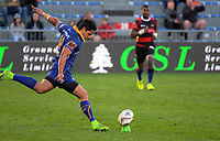 Josh Ioane kicks for goal during the Mitre 10 Cup and Ranfurly Shield rugby match between Canterbury and Otago at AMI Stadium in Christchurch, New Zealand on Sunday, 27 August 2017. Photo: Dave Lintott / lintottphoto.co.nz