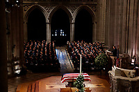 Former President George W. Bush speaks during the State Funeral for his father, former President George H.W. Bush, at the National Cathedral, Wednesday, Dec. 5, 2018, in Washington. (AP Photo/Evan Vucci)
