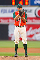 Starting pitcher Robert Morey #22 of the Greensboro Grasshoppers looks to his catcher for the sign against the Hickory Crawdads at L.P. Frans Stadium on May 18, 2011 in Hickory, North Carolina.   Photo by Brian Westerholt / Four Seam Images