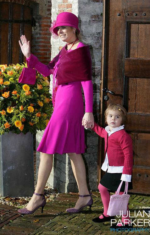 Princess Laurentien & daughter Eloise attend the Christening of Crown Prince Willem-Alexander & Crown Princess Maxima's daughter Princess Alexia at the Dorpskerk in Wassenaar..