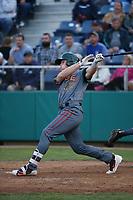 Danny Jipping (45) of the Boise Hawks bats against the Everett AquaSox at Everett Memorial Stadium on July 20, 2017 in Everett, Washington. Everett defeated Boise, 13-11. (Larry Goren/Four Seam Images)