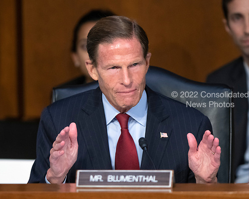 United States Senator Richard Blumenthal (Democrat of Connecticut) questions Judge Brett Kavanaugh as he testifies before the United States Senate Judiciary Committee on his nomination as Associate Justice of the US Supreme Court to replace the retiring Justice Anthony Kennedy on Capitol Hill in Washington, DC on Thursday, September 6, 2018.<br /> Credit: Ron Sachs / CNP<br /> (RESTRICTION: NO New York or New Jersey Newspapers or newspapers within a 75 mile radius of New York City)