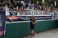 Cary, North Carolina  - Saturday April 29, 2017: Meredith Speck and fans after a regular season National Women's Soccer League (NWSL) match between the North Carolina Courage and the Orlando Pride at Sahlen's Stadium at WakeMed Soccer Park.
