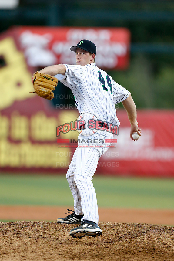 Michael Kelly #44 of the Eugene Emeralds pitches against the Vancouver Canadians at PK Park on July 26, 2013 in Eugene, Oregon. Vancouver defeated Eugene, 4-3. (Larry Goren/Four Seam Images)