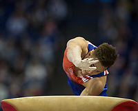 Brinn Bevan (GBR) in action during the men's Vault competition.  FIG World Cup Series of Gymnastics. The O2 Arena, London,  Britain 8th April 2017.
