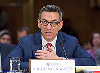 """Clinton Watts, Senior Fellow, Foreign Policy Research Institute Program on National Security testifies before the United States Senate Select Committee on Intelligence as it conducts an open hearing titled """"Disinformation: A Primer in Russian Active Measures and Influence Campaigns"""" on Capitol Hill in Washington, DC on Thursday, March 30, 2017. Photo Credit: Ron Sachs/CNP/AdMedia"""