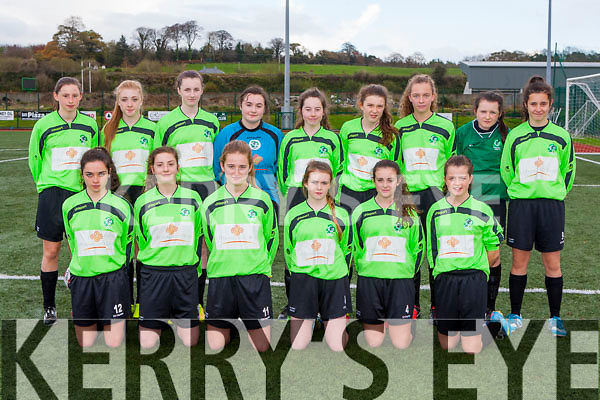 The Killarney Celtic team that played Adare in the Womens U16 FAI cup in Celtic Park on Saturday front row l-r: Elizabeth Mohan, Hannah O'Donoghue, Rebecca Murphy, Lauren Rintoul, Ciara O'Brien, Alanna O'Sullivan. Back row: Leah Henry, Keelie O'Connor, erica McGlynn, Carmel Looney, Rachel Fitzgerald, Kate Stack, Aoife O'Callaghan, Edel Harnett, and Fiadhna Tangney