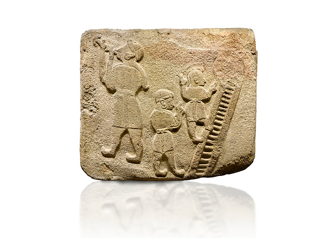 Landscape picture of Alaca Hoyuk Sphinx Gate Hittite monumental relief sculpted orthostat stone panel. Andesite, Alaca, Corum, 1399 - 1301 B.C. Jugglers and acrobats.  Anatolian Civilizations Museum, Ankara, Turkey<br /> <br /> The juggler facing towards left, with long hair and a short dress, swallows a dagger; the smaller acrobats behind go up the stairs without holding on. All the figures have horned headdresses and earrings with a huge ring on their ears. It is thought that the acrobats are of different nationality, which is the reason why they are depicted smaller.  <br /> <br /> Against a white background.