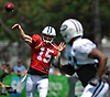 New York Jets quarterback Josh McCown #15 throws a pass to George Atkinson #34 during team practice at the Atlantic Health Jets Training Center in Florham Park, NJ on Sunday, July 29, 2018.