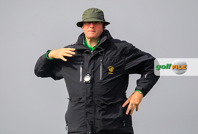Jim Mooney (GUI Referee) on the 8th tee during Round 3 of the Flogas Irish Amateur Open Championship 2017 at Royal County Down on Saturday 13th May 2017.<br /> Photo: Golffile / Thos Caffrey.<br /> <br /> All photo usage must carry mandatory copyright credit     (&copy; Golffile | Thos Caffrey)