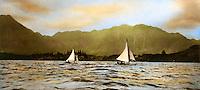 Historical yacht race in Kaneohe Bay, Hawaii