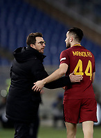 Calcio, Serie A: AS Roma - Torino Roma, stadio Olimpico, 9 marzo, 2018.<br /> Roma's Kostas Manolas (l) celebrates after scoring with his coach Eusebio Di Francesco (r) during the Italian Serie A football match between AS Roma and Torino at Rome's Olympic stadium, 9 marzo, 2018.<br /> UPDATE IMAGES PRESS/Isabella Bonotto