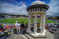 A general view from the William Wakefield Memorial during day one of the 2nd cricket test match between the New Zealand Black Caps and Sri Lanka at the Hawkins Basin Reserve, Wellington, New Zealand on Saturday, 3 February 2015. Photo: Dave Lintott / lintottphoto.co.nz