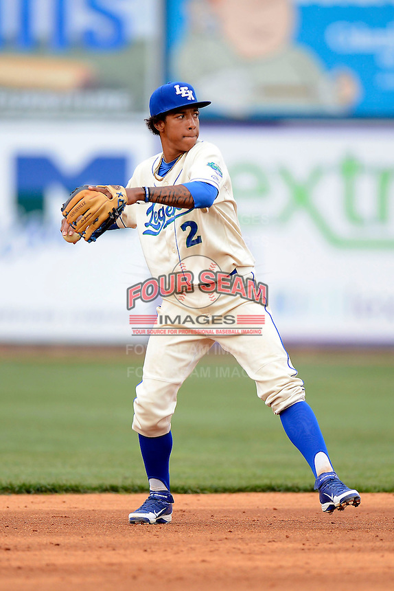 Lexington Legends shortstop Raul Mondesi #2 during a game against the Greenville Drive on April 18, 2013 at Whitaker Bank Ballpark in Lexington, Kentucky.  Lexington defeated Greenville 12-3.  (Mike Janes/Four Seam Images)